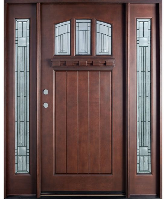 Solid Wood Craftsman door-single with two sidelites-decorative glass & Solid Wood Craftsman door-single with two sidelites-decorative ... pezcame.com