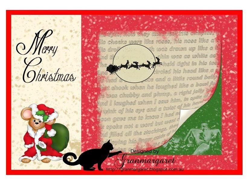 Santa Mouse Pre-Colored and We Are 3© Digital paper - Storybook - greeting card format
