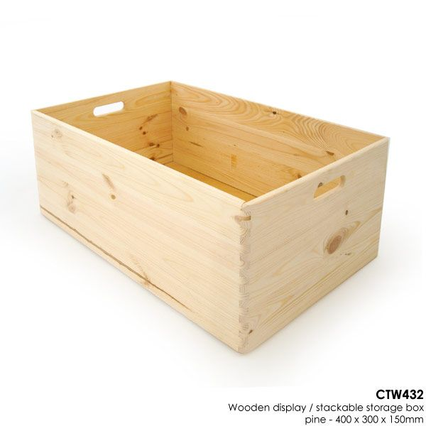 Wooden Display / Stackable Storage Box - Pine - 400 x 300 x 150mm - Wooden Display & Storage Boxes - Boxes Trays & Holders - Containers & POS Displays - Shop Fittings & Retail Display