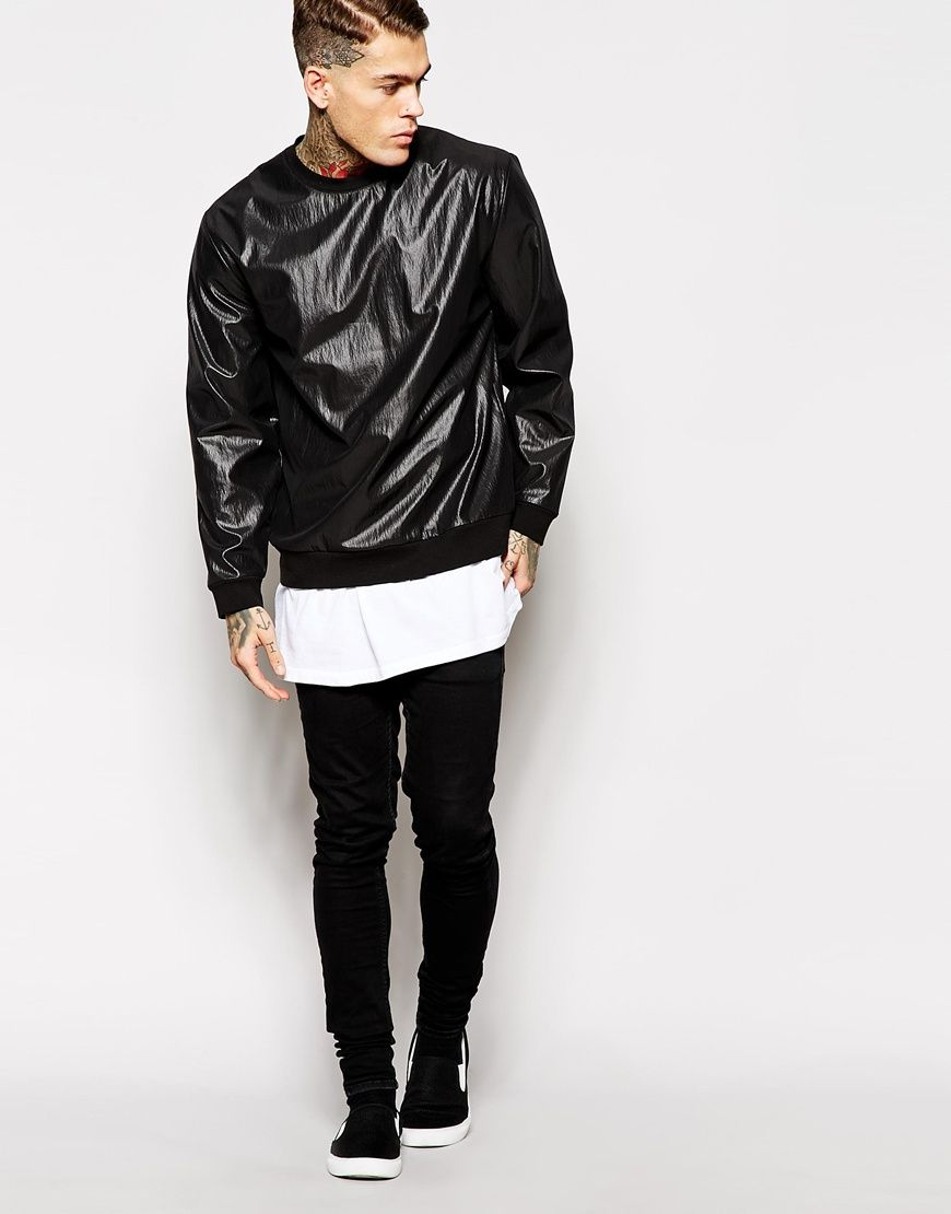 Stephen James ASOS Sweatshirt In Coated Woven Fabric In Relaxed Fit ❤️