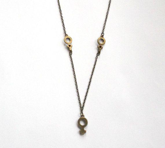 Bronze Venus Symbol Necklace By Catfightback On Etsy Catfightback