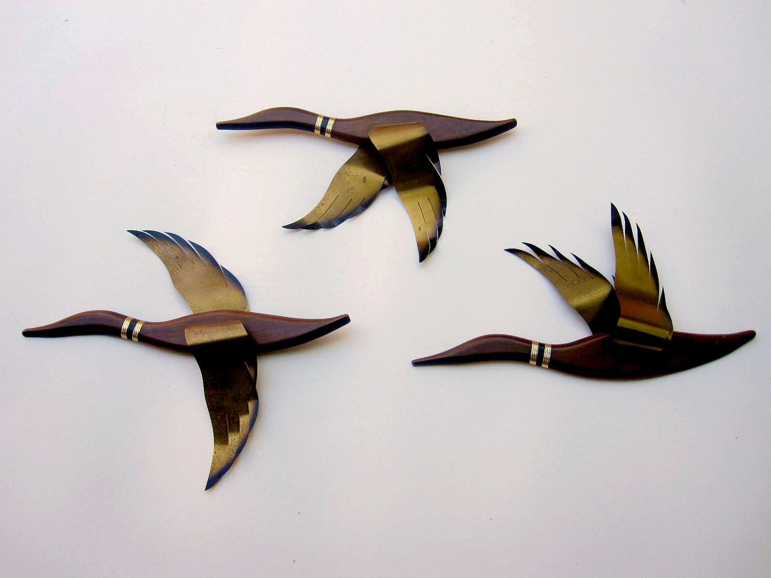 Vintage Brass And Wood Flying Ducks Wall Plaques My Dad Made