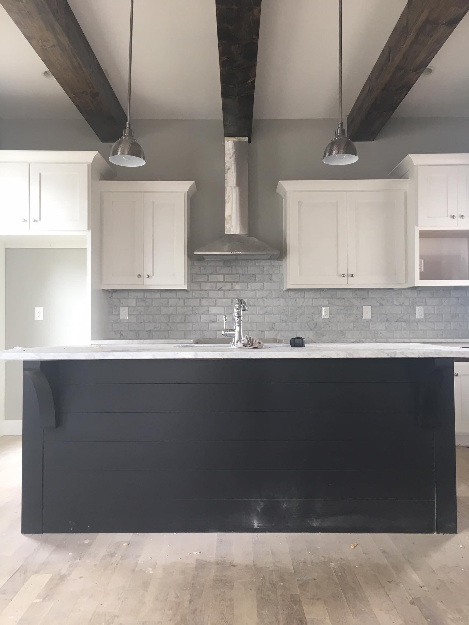 East Nashville Classic Modern Craftsman Kitchen. Wood Beams, Marble  Backsplash, White Cabinets With