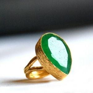 Tear Drop Cut Green Jade Ring