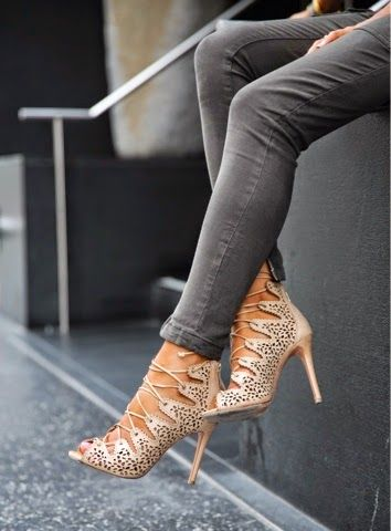 nude + lace up heels