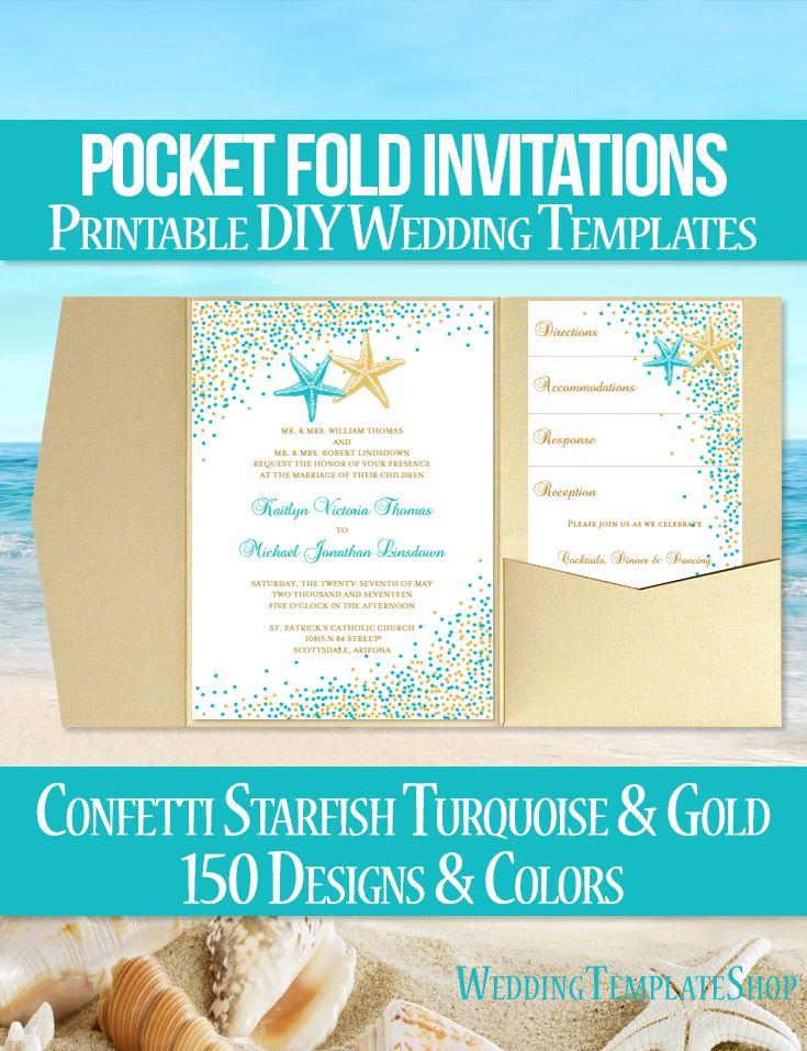 Pocket Fold Wedding Invitation Beach Confetti Starfish Blue 135 Gold ...