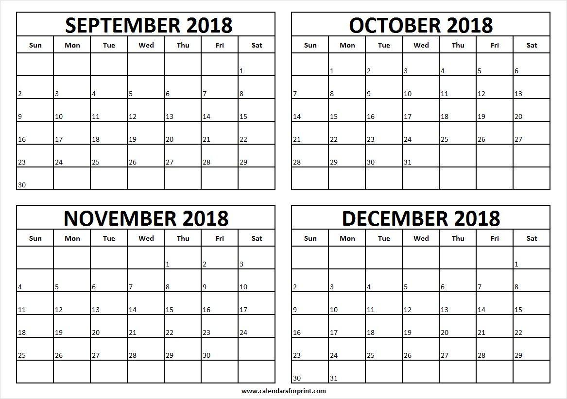 Print Calendar September Through December 2019 Free 2018 September to December Calendar Printable | September