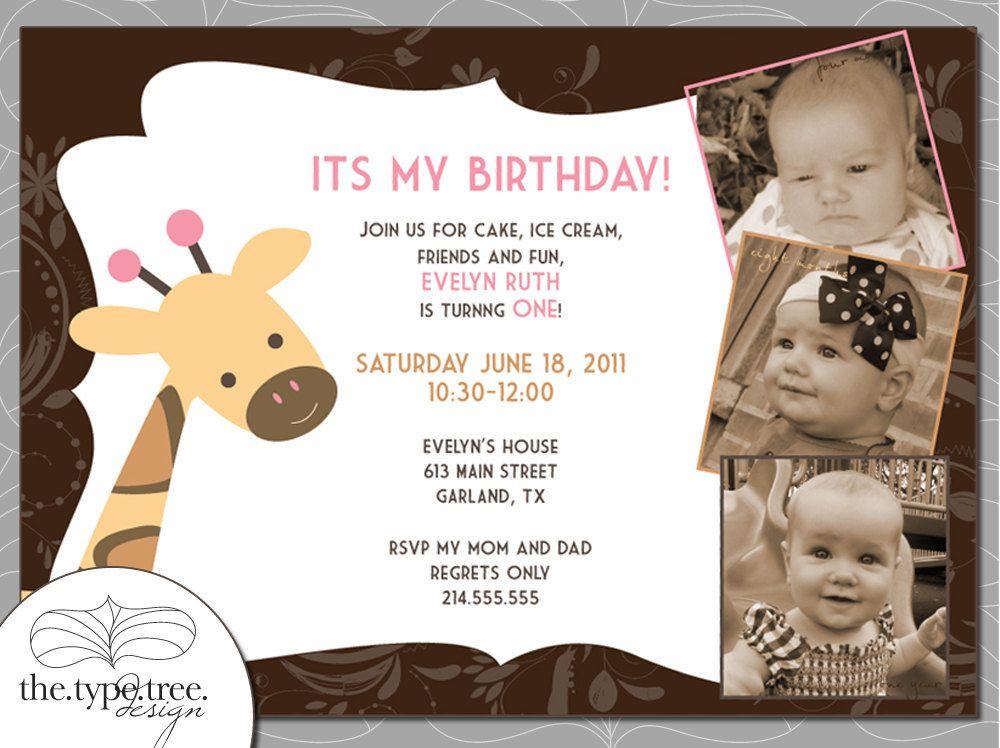 Giraffe Party Invitation - DIY Customizable PDF File. $10.00, via ...