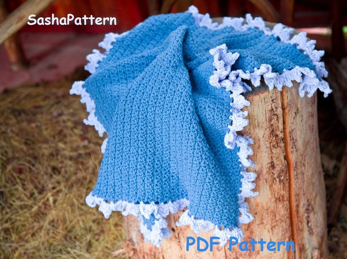 Crochet Baby Blanket With Ruffle Border Things To Diy Pinterest