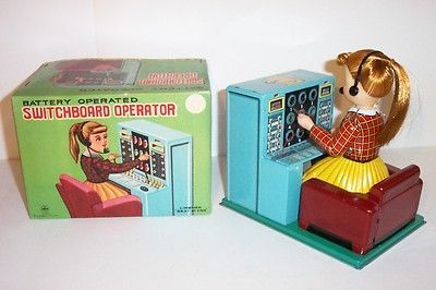 Mint 1950s Linemar Battery Operated Switchboard Operator Tin Litho Toy Japan