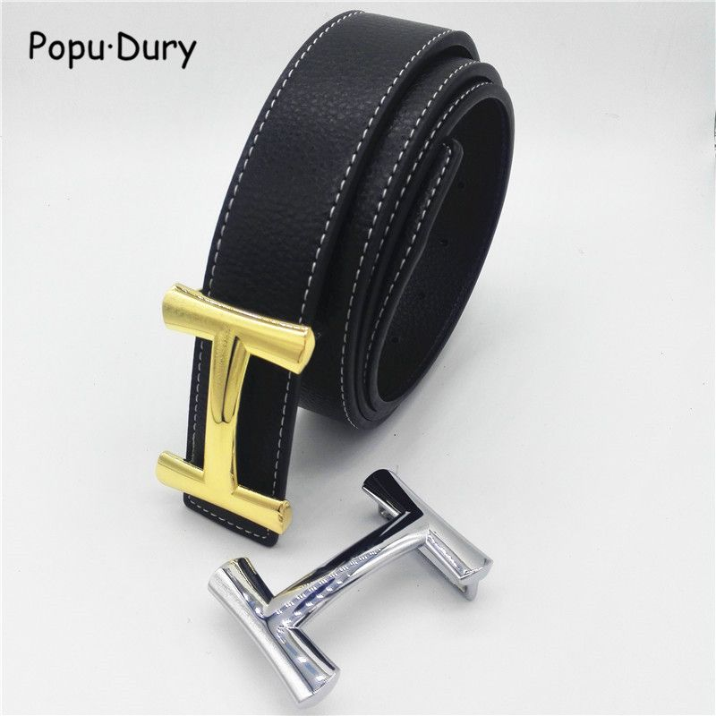 Luxury Brand Men Belt Genuine Leather Women with H Buckle Belt Authentic