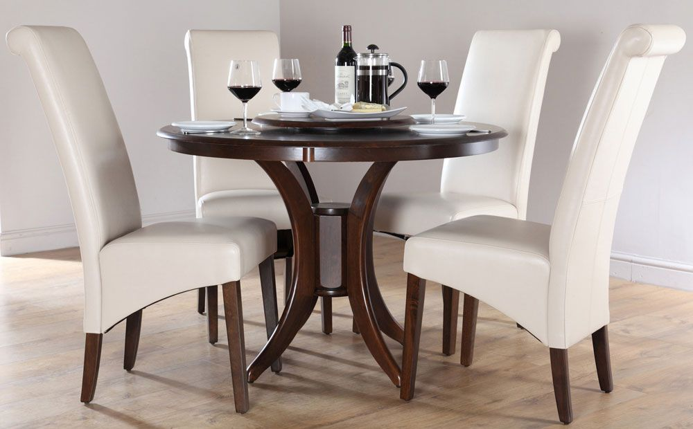 Dining Table Sets  Somerset Round Dark Wood Dining Table And 4 Classy White Wooden Dining Room Chairs Design Decoration