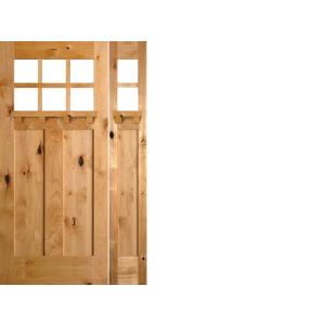 Krosswood Knotty Alder 6 Lite 2 Panel Craftsman Door With Dentil Shelf,  Beveled Glass , And 1 KW 552DS Sidelite