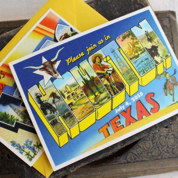 Vintage Travel Postcard Wedding Invitation Houston Texas