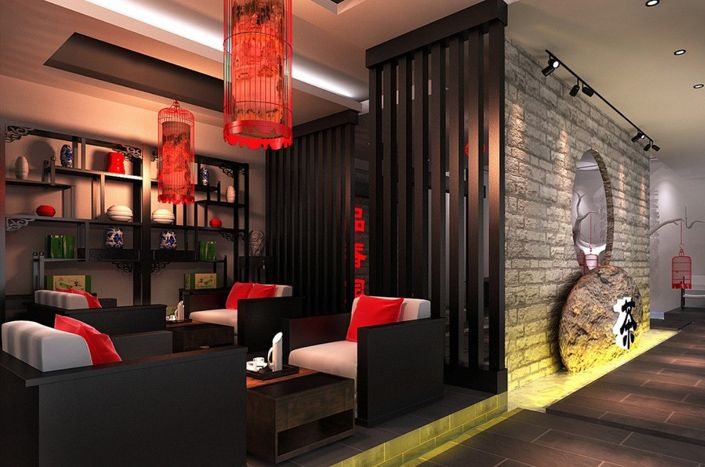 unique-elegant-oriental-black-red-chinese-style-tea-shop-interior-design-3d-rendering, living room, contemporary, luxury european furniture, http://brabbu.com