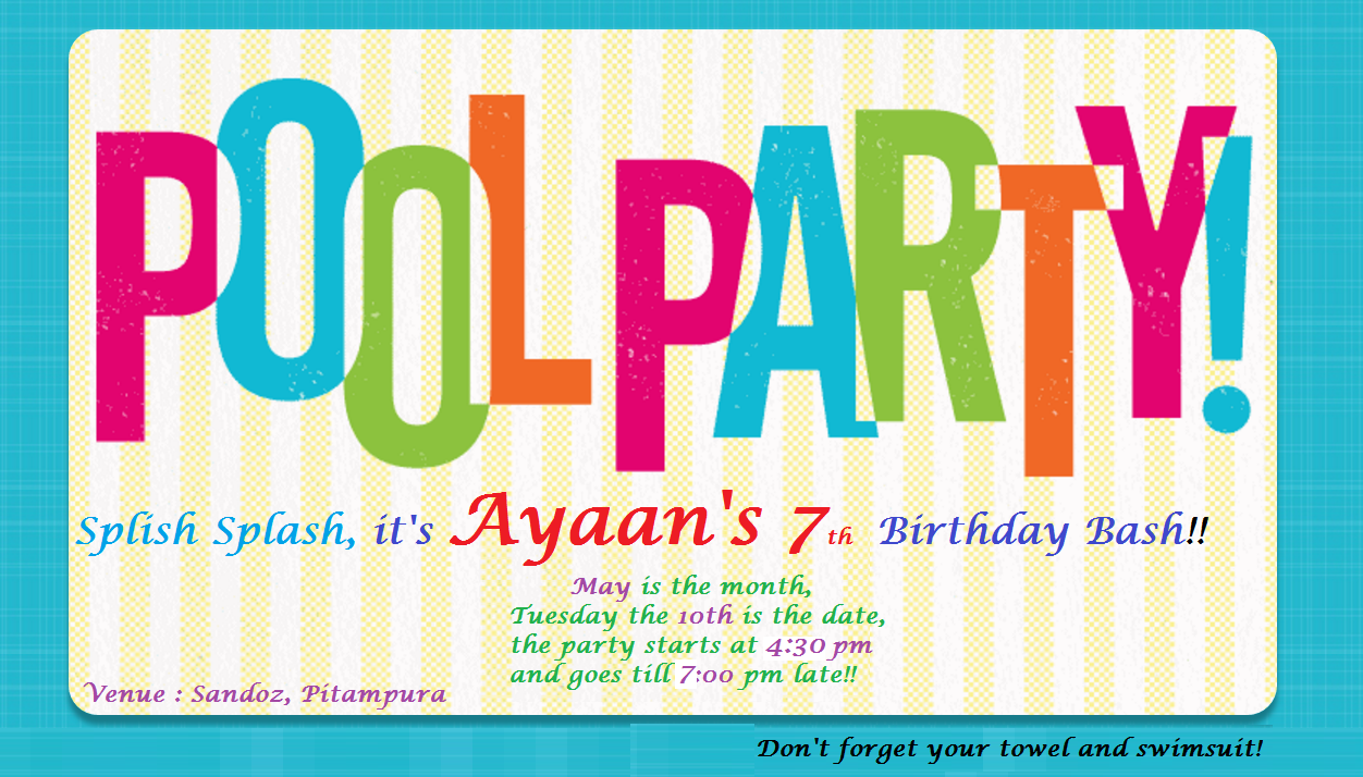 Free Birthday Invitations Pool Party Online Invites Teen Parties