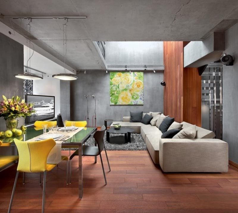 35 Captivating Living Room Designs With Concrete Wall | Concrete ...