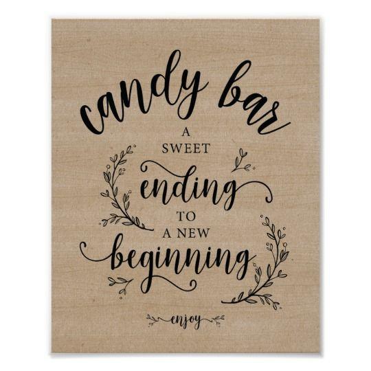 Rustic Vines Wedding Candy Bar sign   Zazzle.com