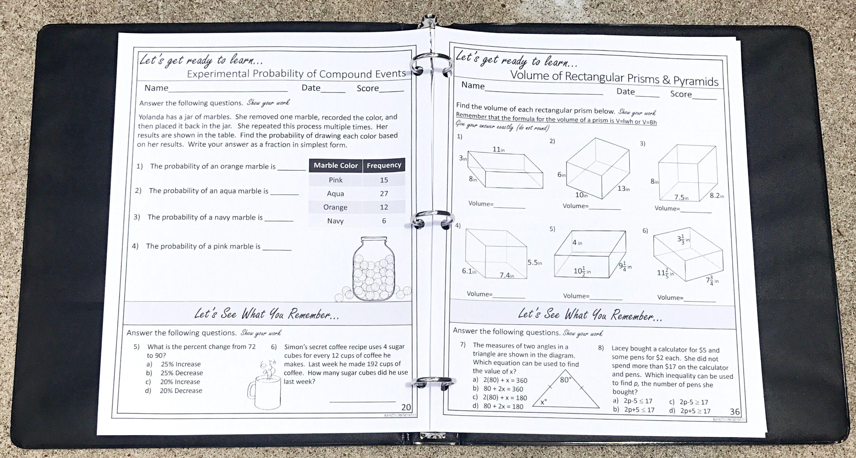 7th Grade Math Warm Ups Bell Ringers Year Long Topic Based W Spiral Review 7th Grade Math Math 7th Grade Math Worksheets [ 1535 x 2867 Pixel ]