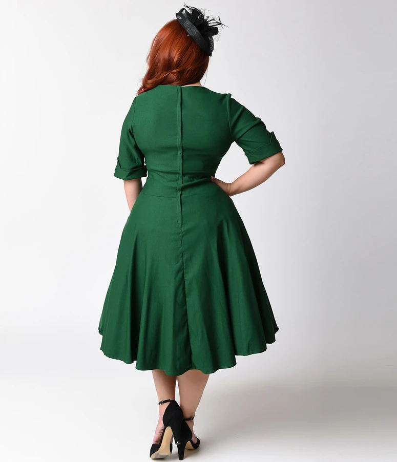 Unique Vintage Plus Size 1950s Emerald Green Delores Swing Dress with Sleeves -   17 dress Green vintage ideas