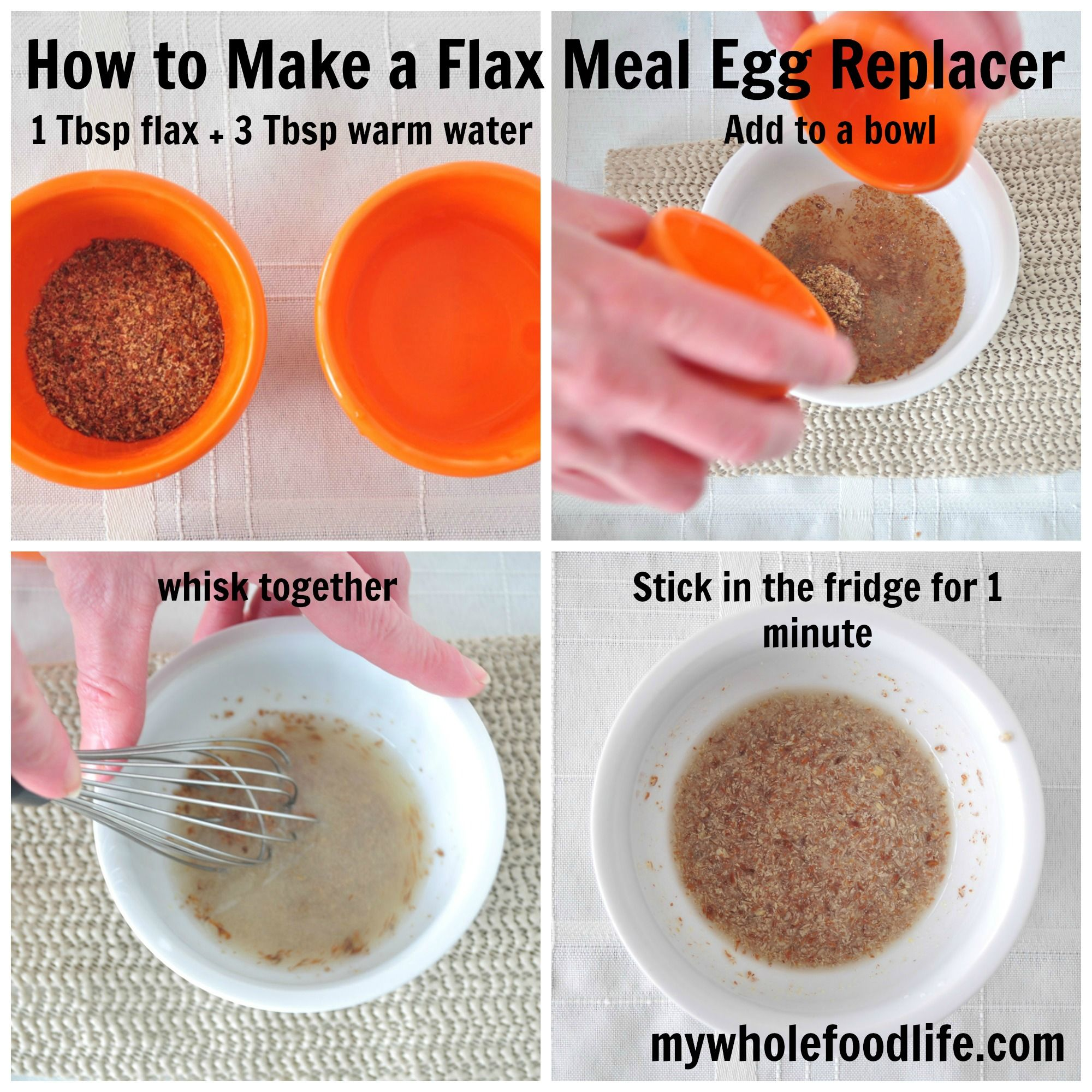 """Do you have a child with an egg allergy? Are you vegan? You can make """"eggs"""" out of flax meal or chia seeds. They work great in every baking recipe I have ever made. Here is a little diagram on how to do it."""