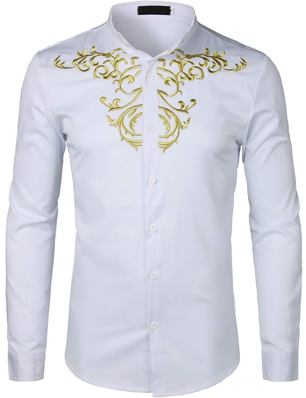 944903781 ZEROYAA Mens Hipster Gold Embroidery Mandarin Collar Slim Fit Long Sleeve  Casual Dress Shirts