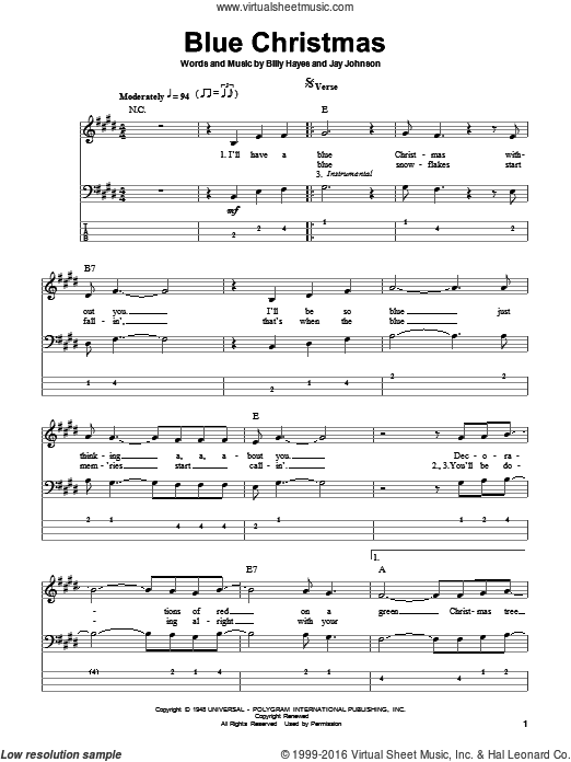 Presley Blue Christmas Sheet Music For Bass Tablature Bass Guitar Christmas Sheet Music Sheet Music Bass Tablature