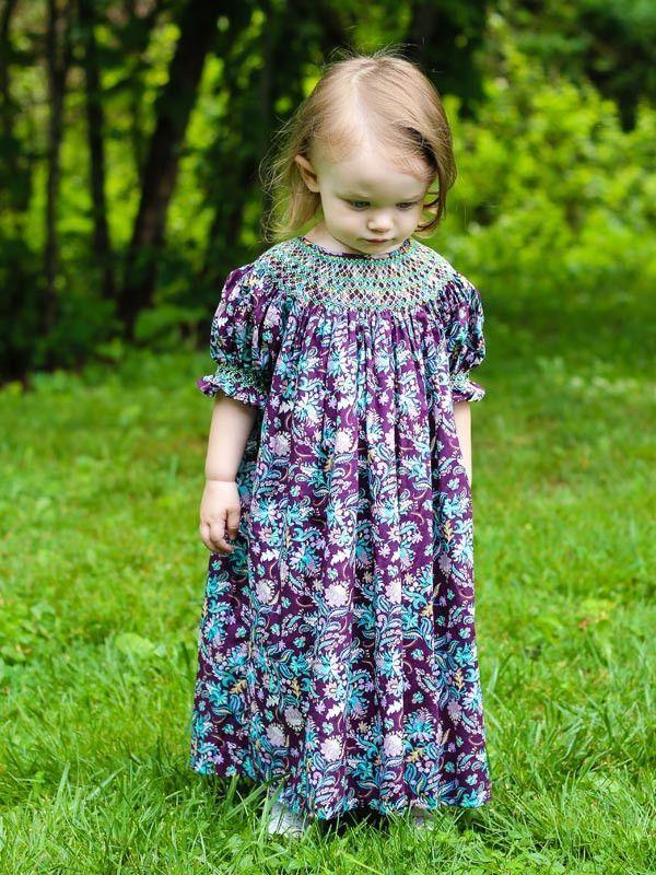 f94495f8f56410 Agatha Girls Paisley Fall Bishop Dress with Smocking   Children's ...