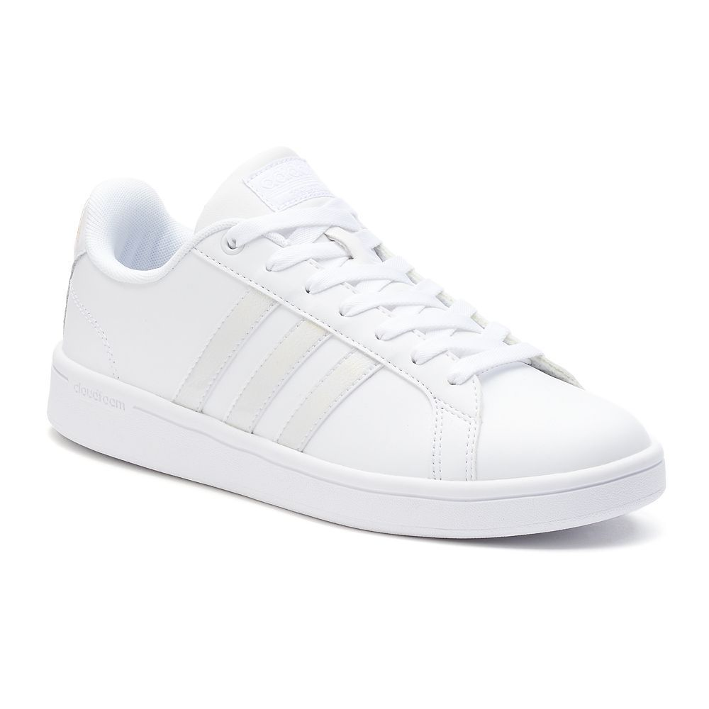 Adidas Womens cloudfoam advantage Low Top Lace Up Walking Shoes White Size 7.5