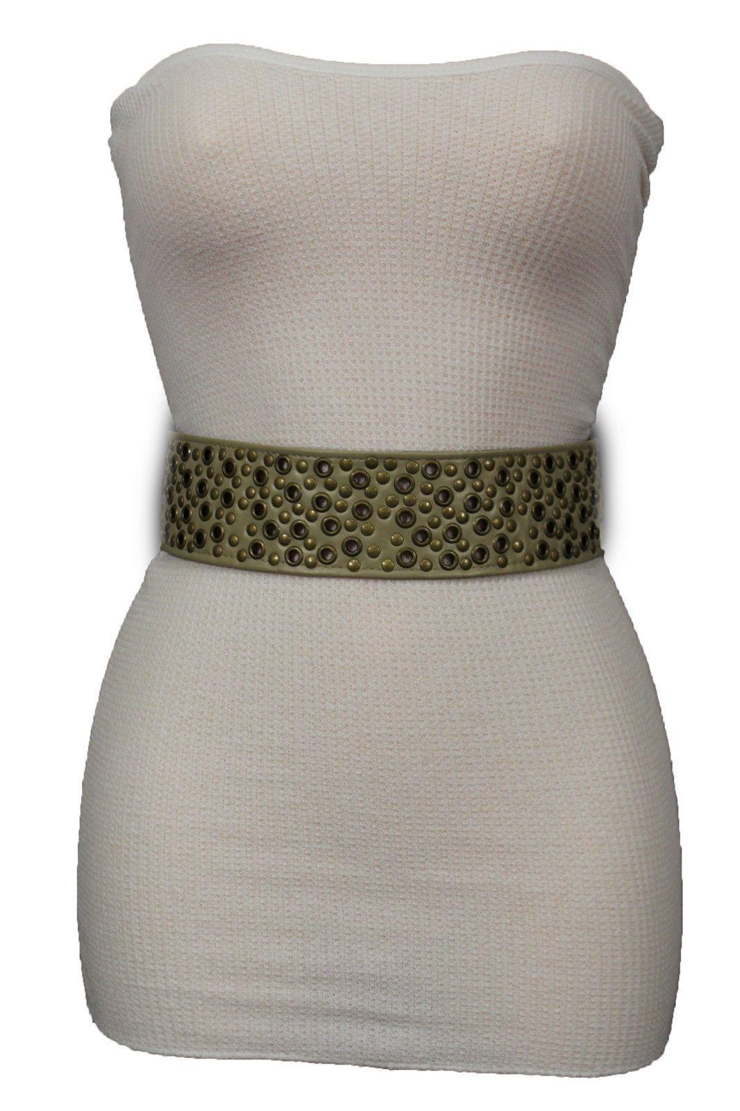 Beige Faux Leather Hip High Waist Tie Belt Multi Antique Gold Stud New Women Fashion Accessories S M L