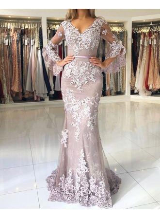 fashion abendkleider lang spitze mit Ärmel bodenlange abendmoden ballkleider online modellnummer