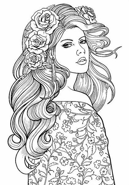 Lovely lady colouring page adult coloring page adult Coloring books for young adults