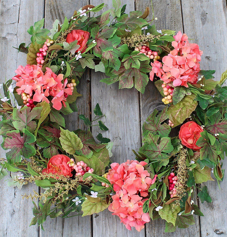 Amazon Com Genesee Silk Spring Door Wreath 22 Inch Home Kitchen Floral Door Wreaths