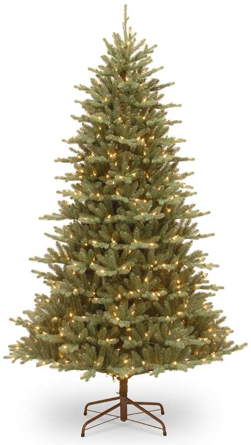 National Tree Company 75-ft Asbury Blue Spruce Hinged Pre-Lit