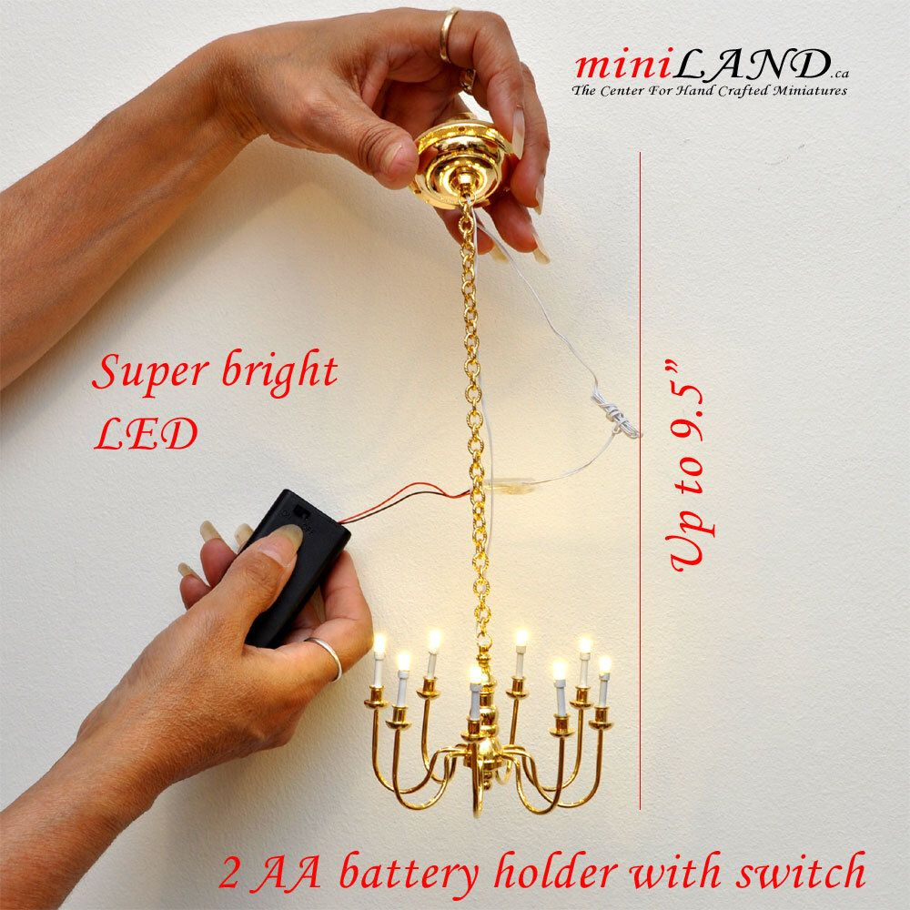 1 6 Scale Brass 8 Arms Chandelier Battery Operated Led Light Etsy Battery Operated Led Lights Doll House Arm Chandelier