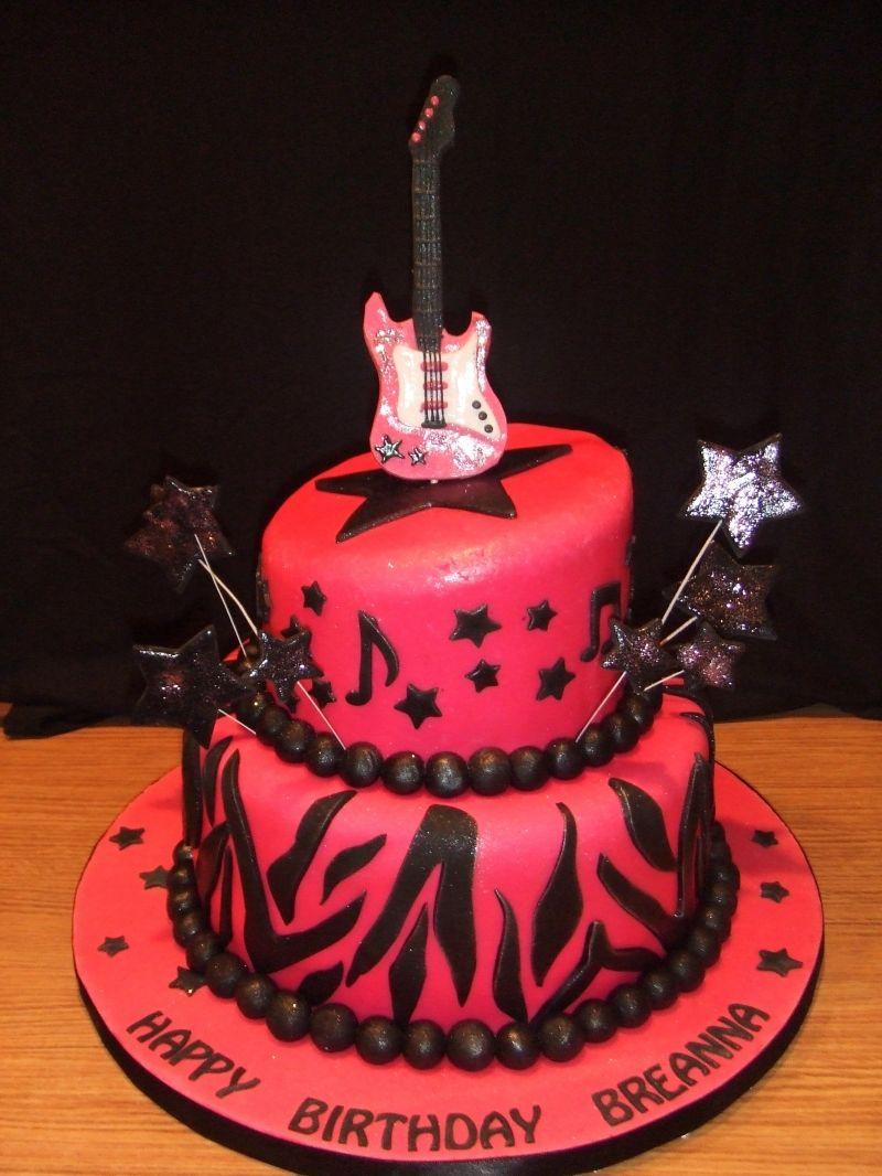 Strange Pink Black Rockstar Birthday Rockstar Birthday My Birthday Funny Birthday Cards Online Kookostrdamsfinfo