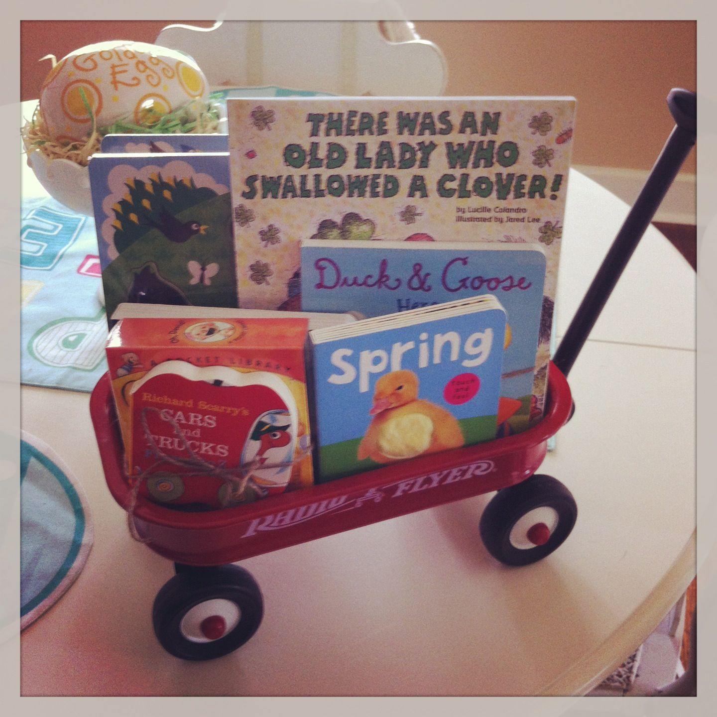 Instead Of A Toy For First Birthday Gift Our Nephew I Got Him Mini Radio Flyer With Books And Puzzles