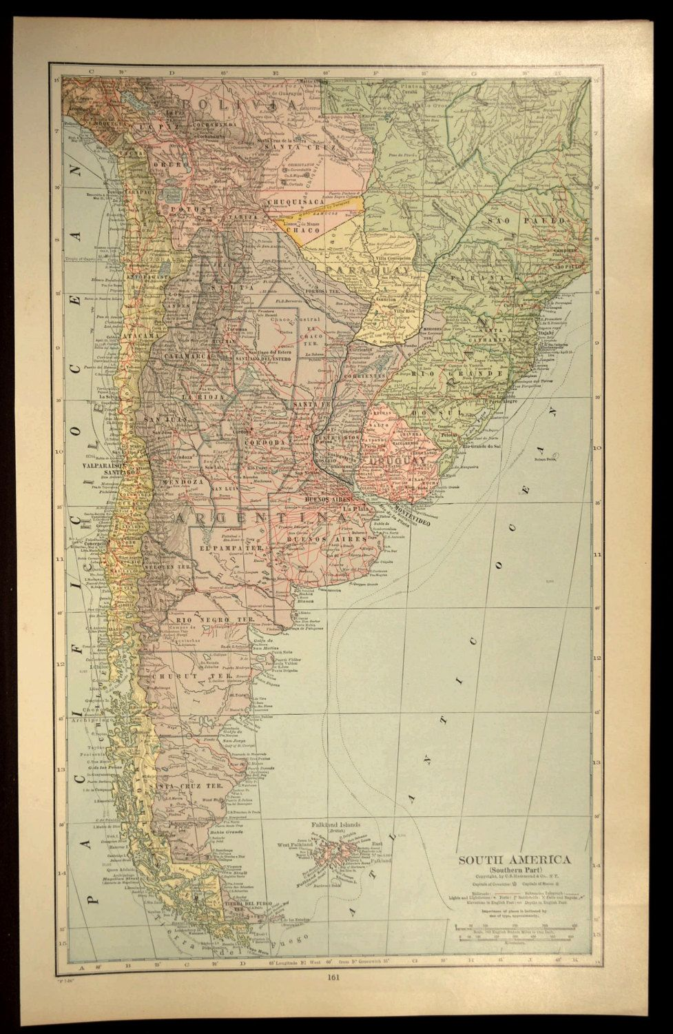 Argentina Map Railroad Paraguay Falkland Islands Chile Map Wall