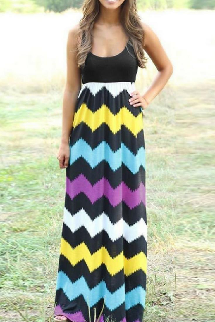 Womenus boho striped long maxi dress boho dresses pinterest