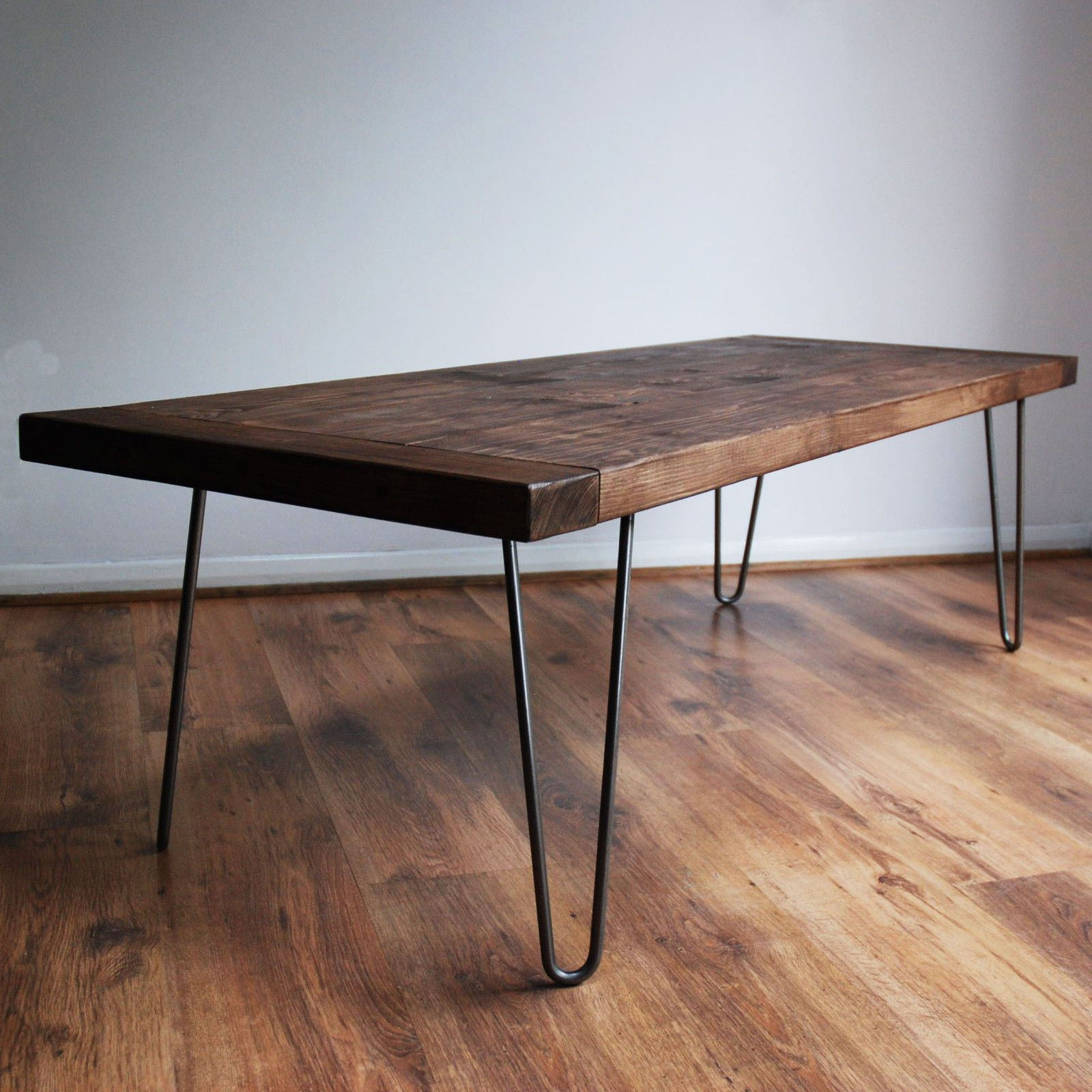 Rustic Coffee Table With Vintage Mid Century Metal Hairpin Legs Walnut Detail I Midcentury Modern Dining Table Rustic Coffee Tables Mid Century Dining Table