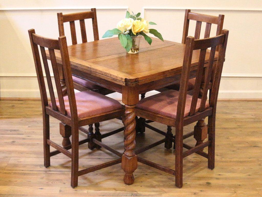 Antique English Pub Table And Chairs Barley Twist Light Oak Draw