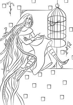Rapunzel In Her Tower Coloring Pages Free Printable Coloring