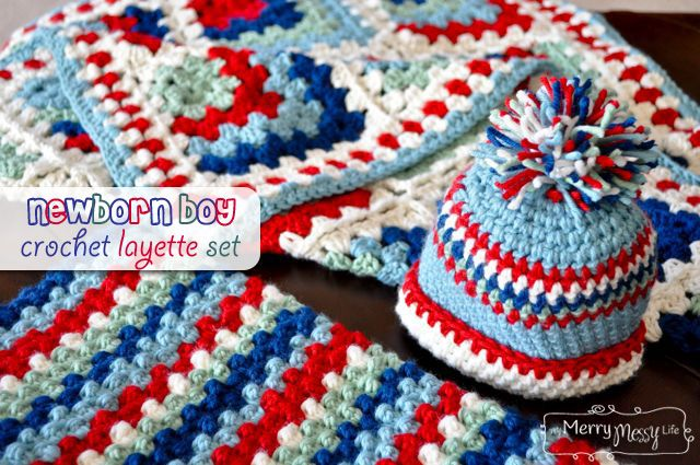 5d9e7e082c3 My Merry Messy Life  Newborn Baby Boy Layette Set with free patterns for a  hat