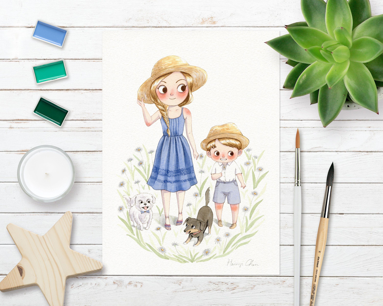 Custom Family Portrait Original Watercolor Illustration Wedding Couple Children Book Illustration Watercolor Couple Illustration Wedding Couple Illustration