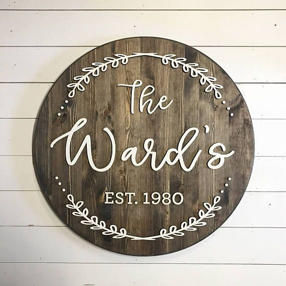 Custom Family Sign - ROUND - Digital Proof Included! - Personalized - Established Sign - Wood Sign - Rustic Sign - Farmhouse - Fixer Upper