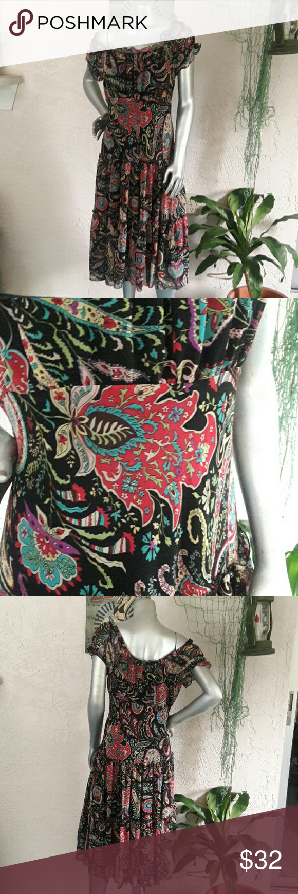 Jeccica Howard Paisley Frill Chiffon Dress Brand Jessica Howard Size 12P 100%polyester  Perfect condition  Beautiful Paisley Chiffon wear it off the shoulder or on for a different silhouette. Lined in black with sheer chiffon overlay. Lasted Prairie style skirt and elastic in neck and sleeves. So soft and pretty Bundles available with discounts Jessica Howard  Dresses Midi