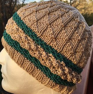 Easy knit purl hat with a trinity stitch border for a little challenge and  interest. fcc8e3f5bc2