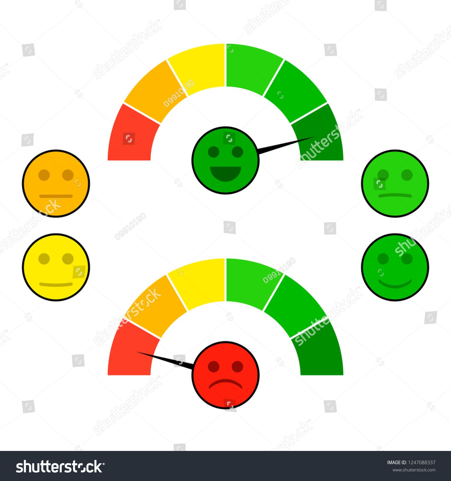 Color Indicator Arrow With Face Mood Credit Score Good And Bad