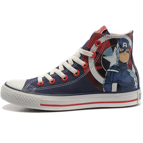 Converse Captain America High Tops The Avengers Edition Blue Red White  Stripes Canvas Shoes