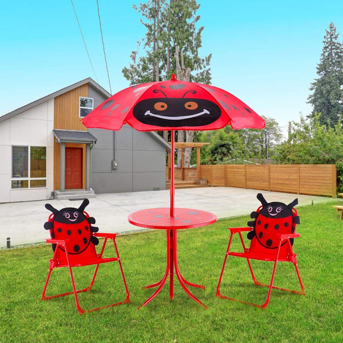 Sitzgruppe Sitzgarnitur Gartengarnitur Kindermobel Kindertisch Inkl Sonnenschirm 2 Stuhle Rot Kinder Mobel Sonnenschirm Kindertisch